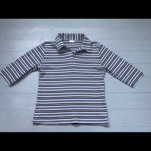 Vintage preppy style collared striped tee